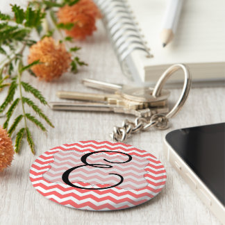 Coral Chevron Initial Keyring Basic Round Button Key Ring