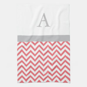 Coral Chevron Monogram Tea Towel