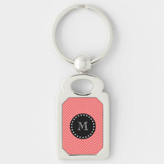 Coral Chevron Pattern | Black Monogram Silver-Colored Rectangle Key Ring