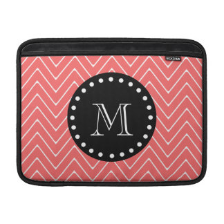 Coral Chevron Pattern | Black Monogram Sleeve For MacBook Air