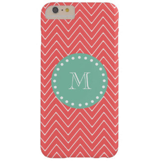 Coral Chevron Pattern | Mint Green Monogram Barely There iPhone 6 Plus Case