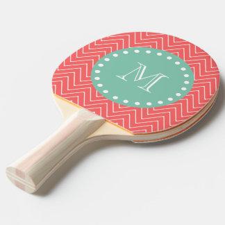 Coral Chevron Pattern | Mint Green Monogram Ping Pong Paddle