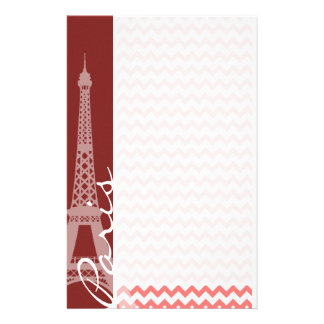 Coral Chevron Pattern; Paris Stationery