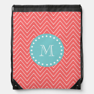Coral Chevron Pattern | Teal Monogram Drawstring Bag