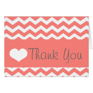 Coral Chevron Thank You Note Card