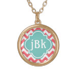 Coral Chevron with Turquoise Centre to Monogram