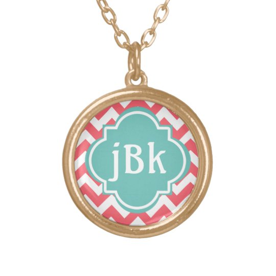 Coral Chevron with Turquoise Centre to Monogram Gold