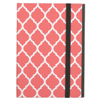 Coral Chic Moroccan Lattice Pattern iPad Air Cases