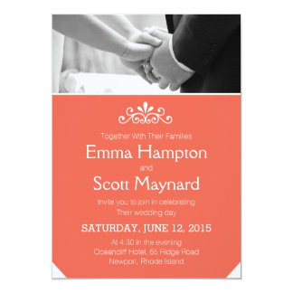 Coral classic vintage invite couple holding hands
