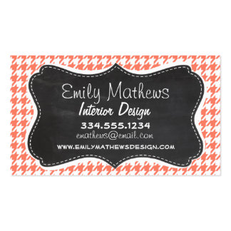 Coral Color Houndstooth; Chalkboard look Business Card