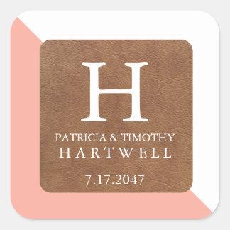 Coral Color Split Faux Leather Patch Wedding Square Sticker