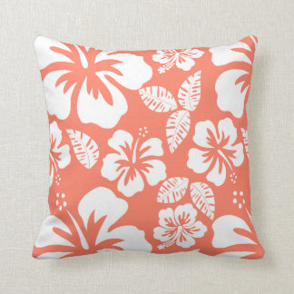 Coral Color Tropical Hibiscus Cushion