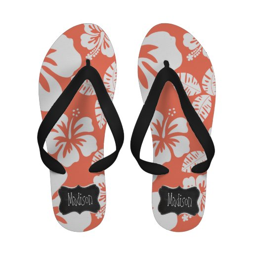 Coral Color Tropical Hibiscus; Retro Chalkboard Flip-Flops