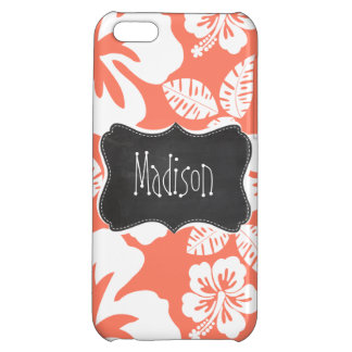 Coral Color Tropical Hibiscus; Retro Chalkboard iPhone 5C Covers