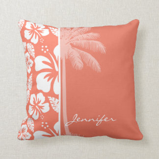 Coral Color Tropical Hibiscus; Summer Palm Cushion