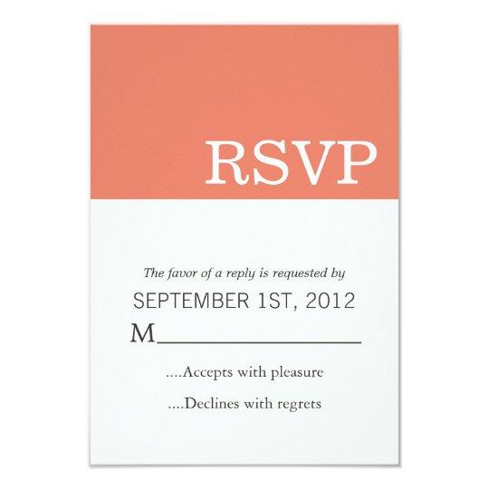 Coral Colour Block Wedding RSVP Cards Invites