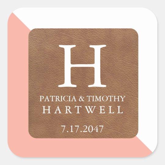 Coral Colour Split Faux Leather Patch Wedding Square