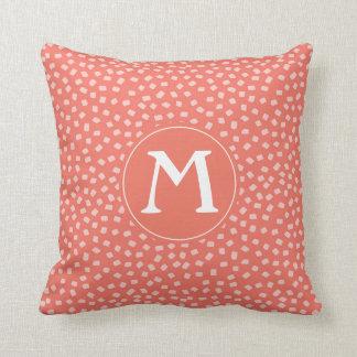 Coral Confetti Pattern Custom Monogram Throw Pillow