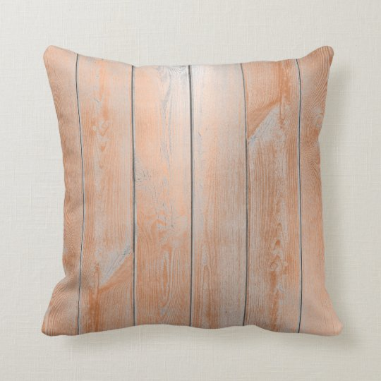 Coral Copper Bronze Gray Metallic Wood Cottage Cushion