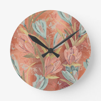 Coral Copper Floral Coffe Blue Ivory Butterfly Wallclock