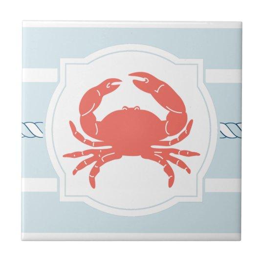 Coral crab nautical style stripes ceramic tile