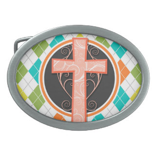 Coral Cross on Colorful Argyle Pattern Belt Buckle