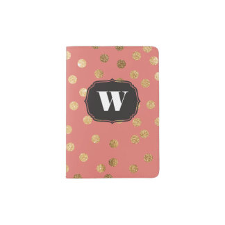 Coral Custom Monogram Passport Cover