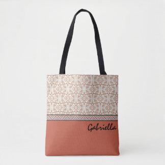 Coral Custom Name Tote Bag