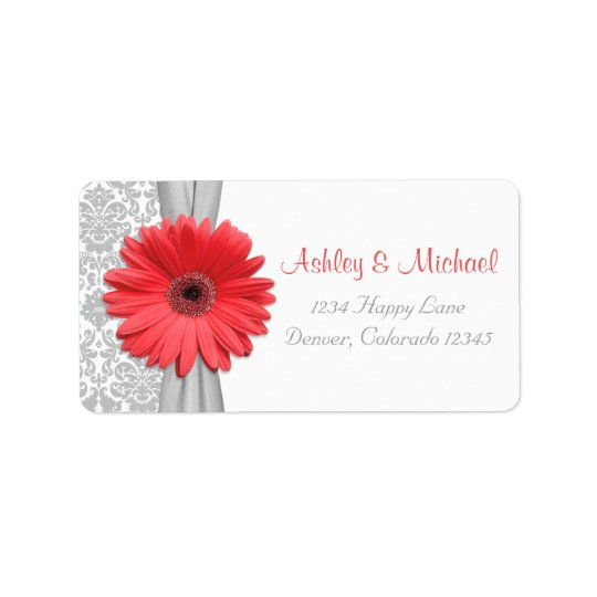 Coral Daisy Grey Damask Wedding Return Address Address Label