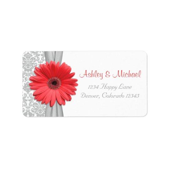 Coral Daisy Grey Damask Wedding Return Address Label