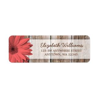 Coral Daisy Rustic Barn Wood Return Address Label