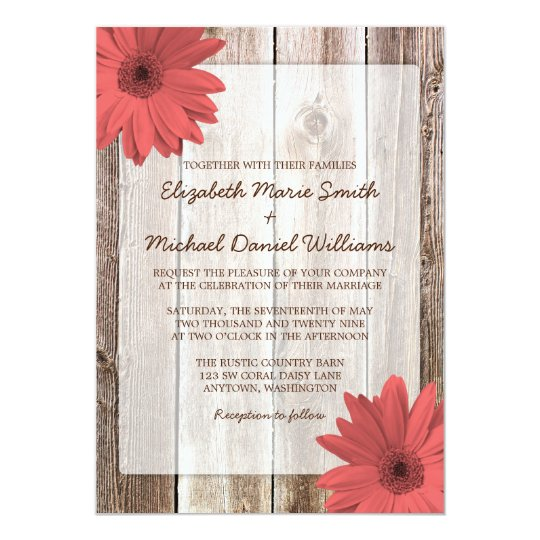 Coral Daisy Rustic Barn Wood Wedding Invitation