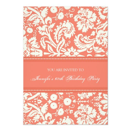 Coral Damask 60th Birthday Party Invitations