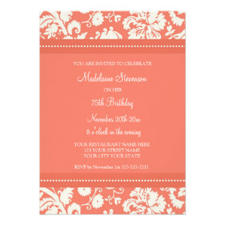 Coral Damask 75th Birthday Party Invitations