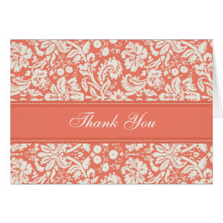 Coral Damask Baby Shower Hostess Thank You Card