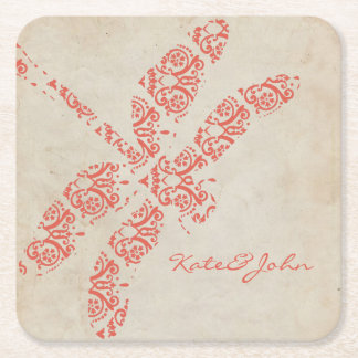 Coral Damask Dragonfly Wedding Square Paper Coaster