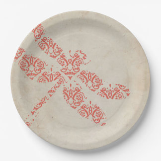 Coral Damask Dragonfly Wedding Paper Plate