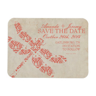 Coral Damask Dragonfly Wedding Save The Date Rectangular Photo Magnet