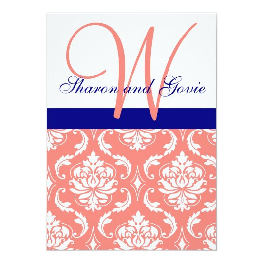 Coral Damask Navy Monogram Wedding Invitation