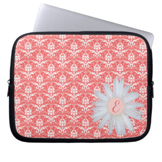 Coral Damask Pattern | Daisy Monogrammed Initial Laptop Computer Sleeve