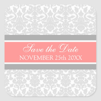 Coral Damask Save the Date Envelope Seal Square Sticker