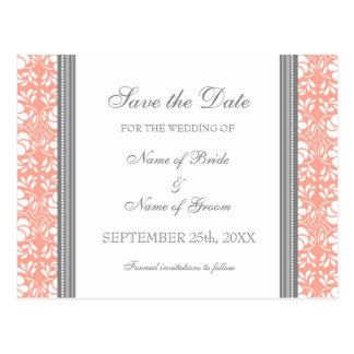 Coral Damask Save the Date Wedding Postcards