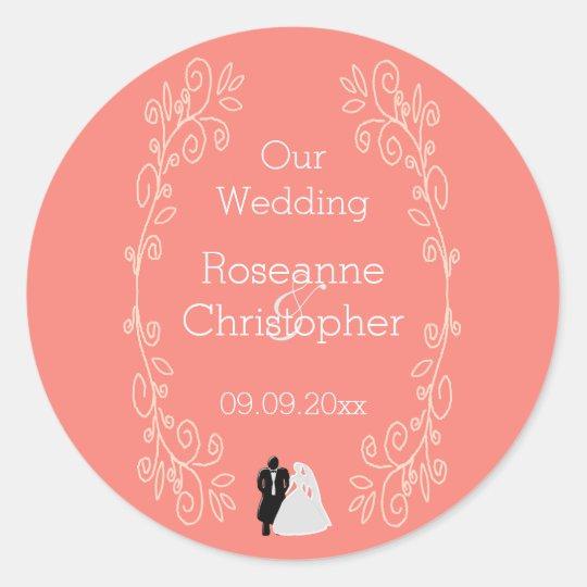 Coral Damask Wedding Classic Round Sticker