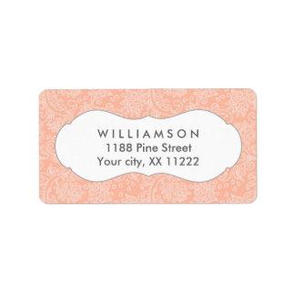 Coral damask wedding or baby bridal shower address label