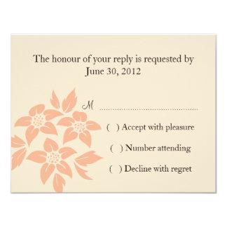 "Coral Damask Wedding RSVP Card 4.25"" X 5.5"" Invitation Card"
