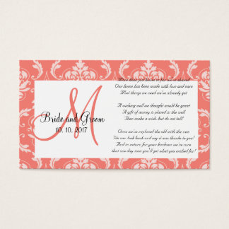 Coral Damask Wedding Wishing Well Card
