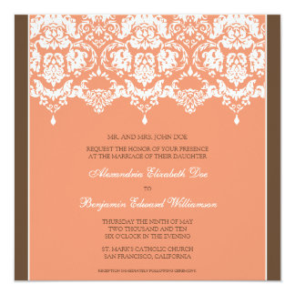 Coral Darling Damask Square Wedding Invitation