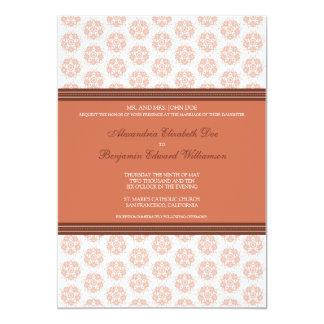 Coral Decorative Stamp Formal Wedding Invitation