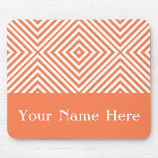 Coral Diamond Chevron with custom name Mouse Mat