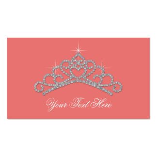 Coral Diamond Party Favor Labels Product Tags Pack Of Standard Business Cards